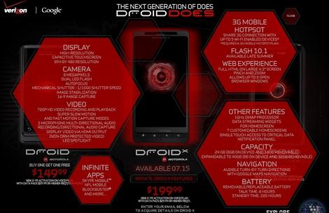 ベライゾンワイヤレス、「DROID X」を発表!