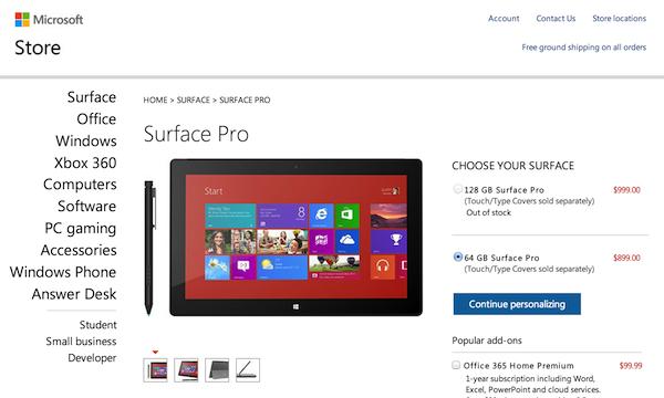 Surface Pro、128GBモデルが発売直後に売り切れに