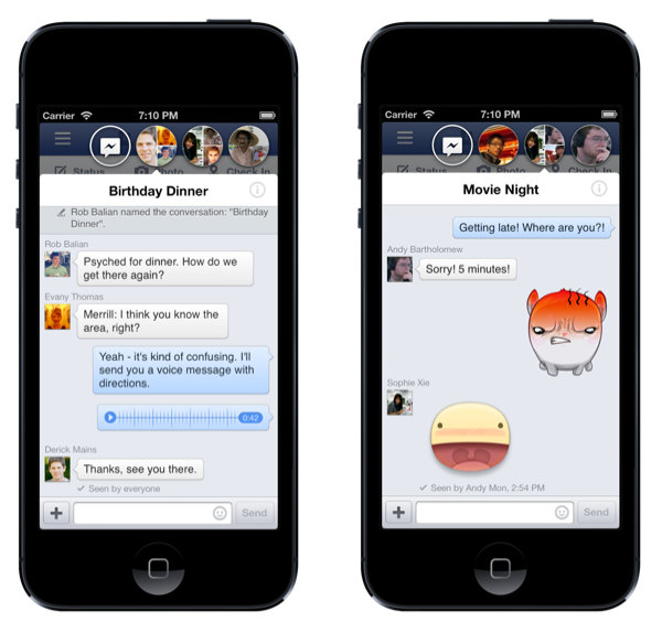 iOS版FacebookアプリがアップデートーチャットヘッドやLINEのようなスタンプの送受信をサポート