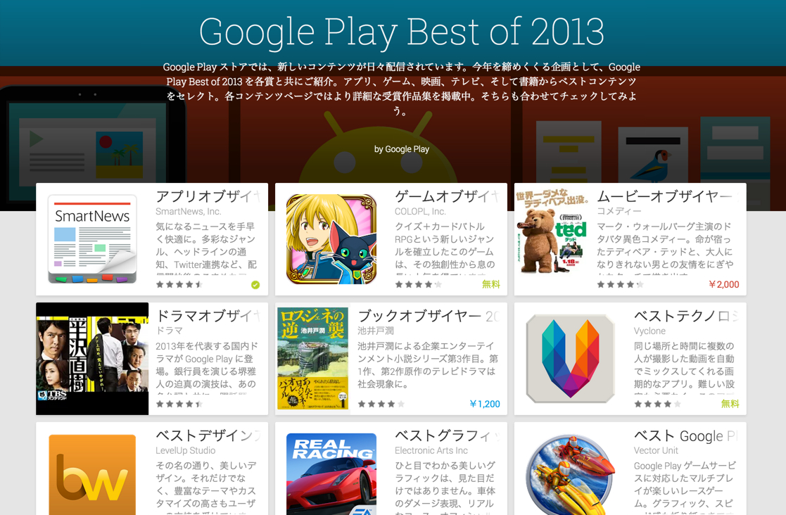 Google Play Best of 2013が発表!ベストアプリは「SmartNews」が受賞!
