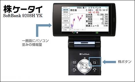ソフトバンク、株ケータイ「920SH YK」を発売。