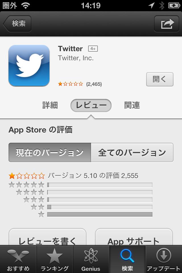 iOS版Twitterの公式アプリが大不評!App Storeの評価はなんと星ひとつに!