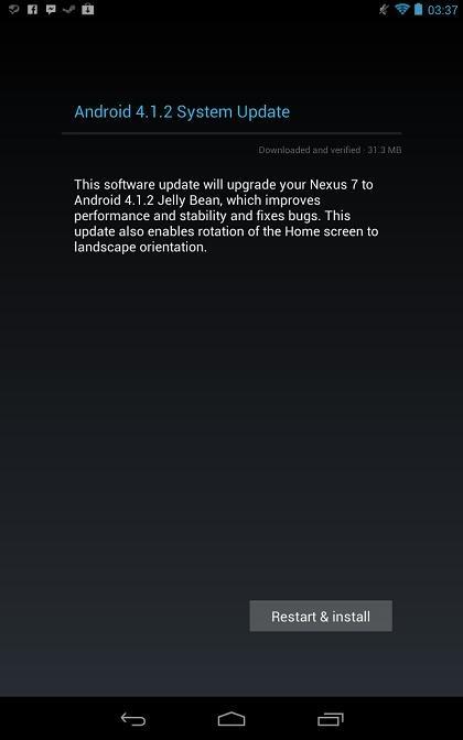 Google、「Nexus 7」にAndroid 4.1.2を配信中!