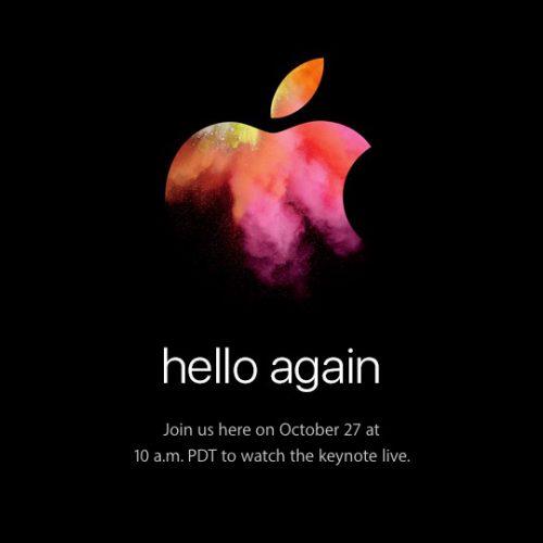 アップル、10月27日に新型MacBook Air / Pro発表か。スペシャルイベント「hello again」を開催