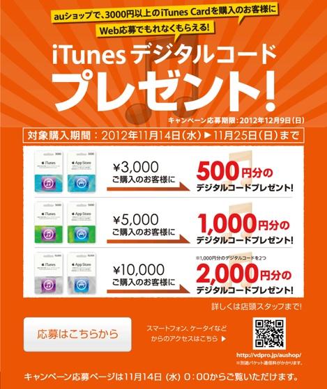 au、iTunesカードの購入に対し最大2000円分のデジタルコードプレゼントキャンペーンを実施!
