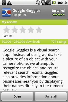 Google、今度は画像認識検索アプリ「Google Goggles」を提供!