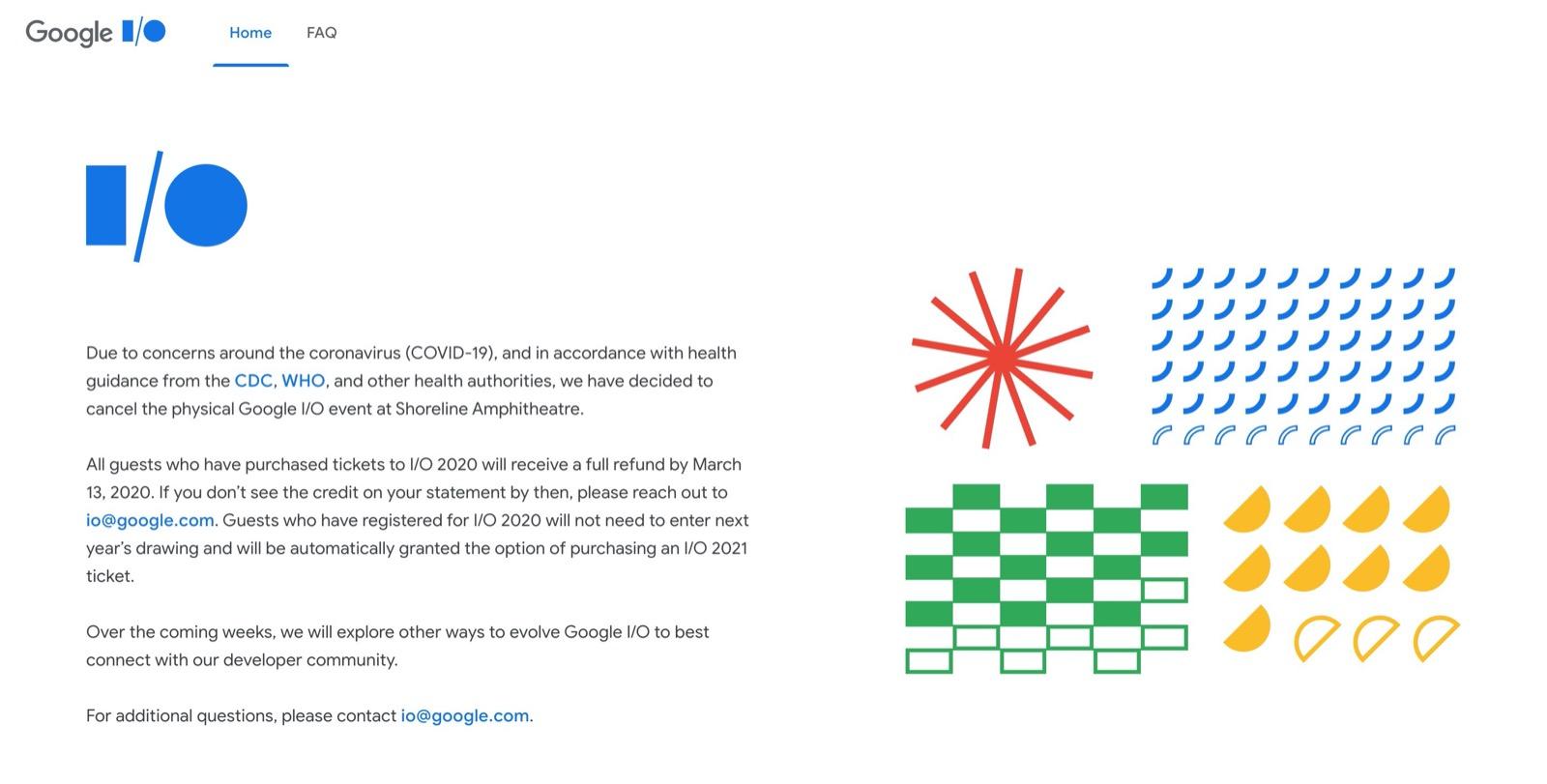 Google I/O 2020、現地開催が中止に。新型コロナの影響で
