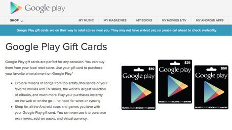 Google、Google Playストアのギフトカードを発売!当初は米国のみで販売。