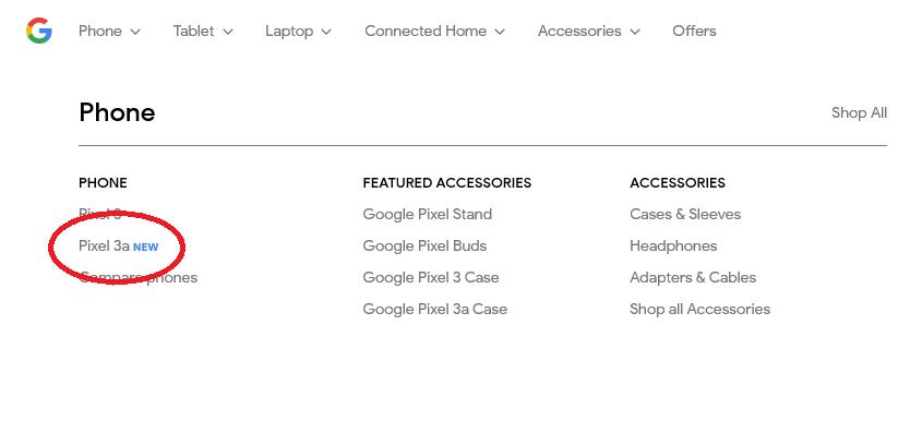 Google Storeに「Pixel 3a」が登場→即削除