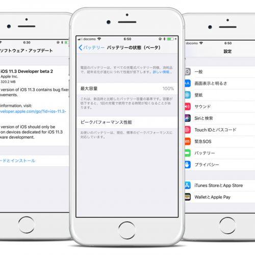 Apple、バッテリー診断機能「バッテリーの状態」を公開。ベータ版「iOS 11.3」で
