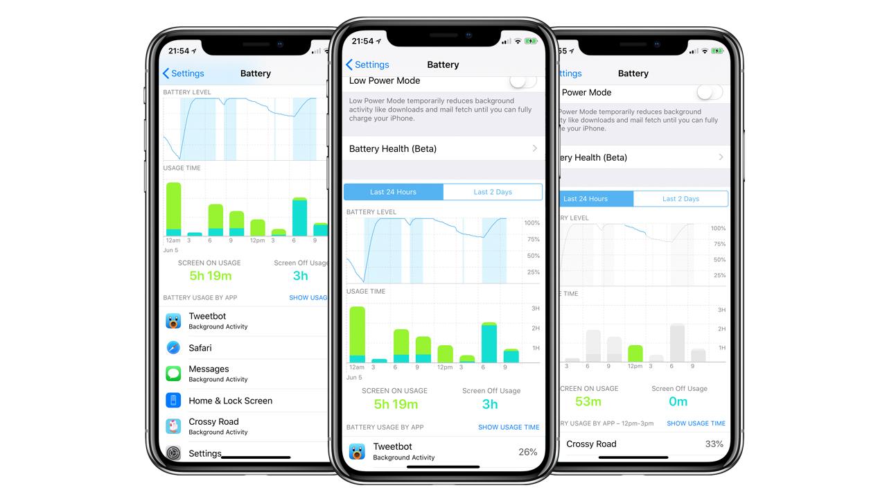 iOS 12、バッテリー残量などをグラフで表示する新機能が追加