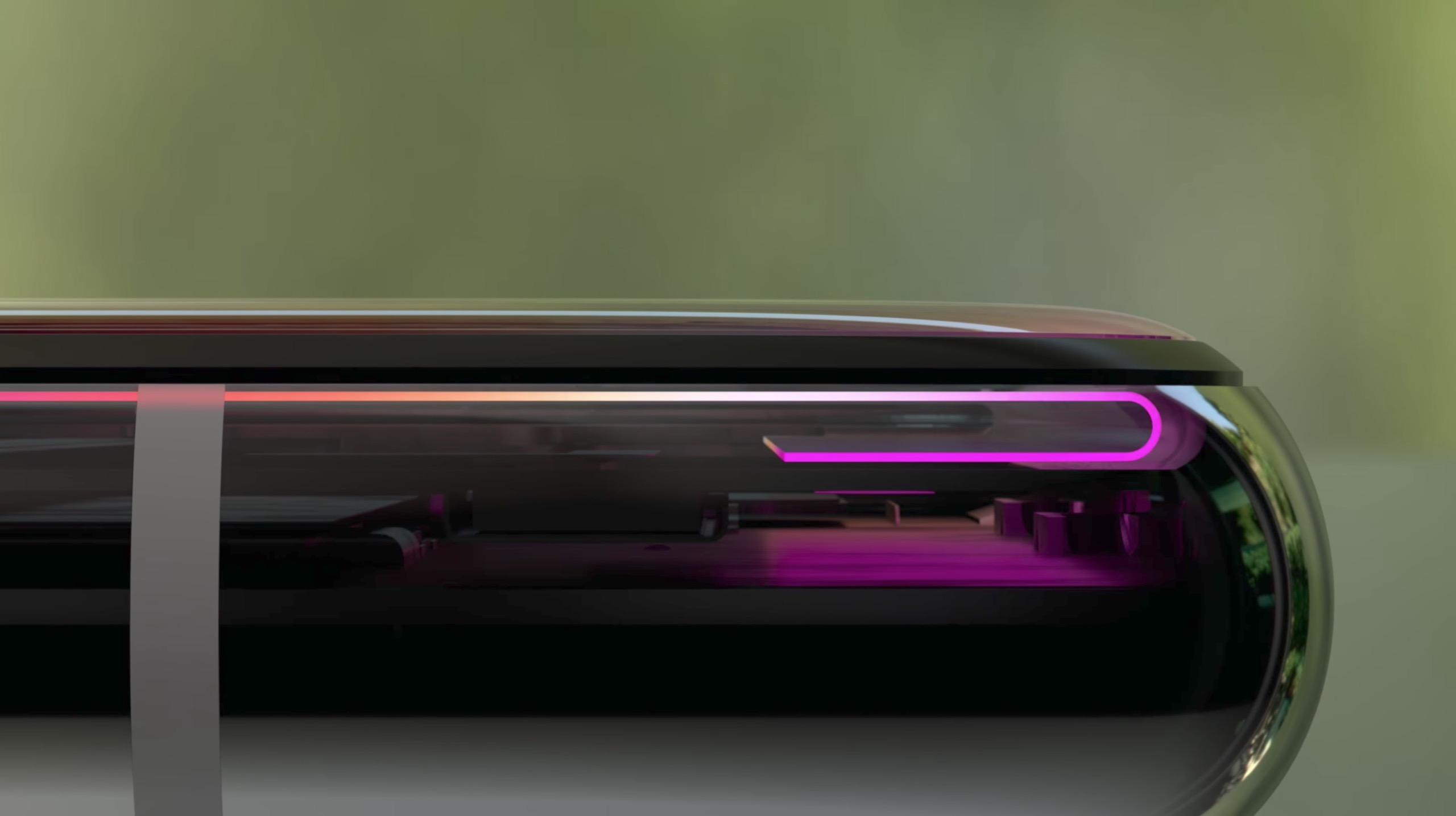 内部で湾曲しているiPhone Xのディスプレイ