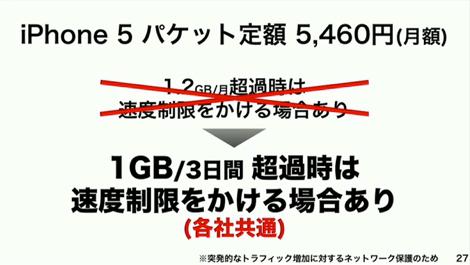 ソフトバンク、iPhone5の速度制限を他社と同水準に。「容量無制限」はならず。