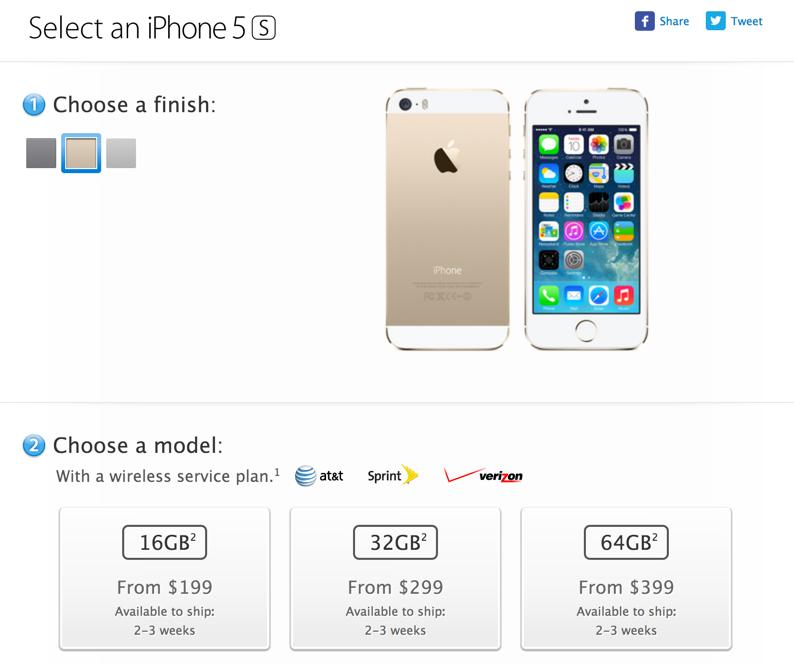 iPhone 5sの在庫状況が改善ーApple Online Storeの出荷予定日が1〜2週間に短縮