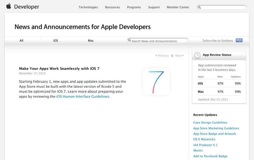 Apple、iOSアプリの審査項目にiOS 7への対応を追加ーXcode 5でのビルドも必須に