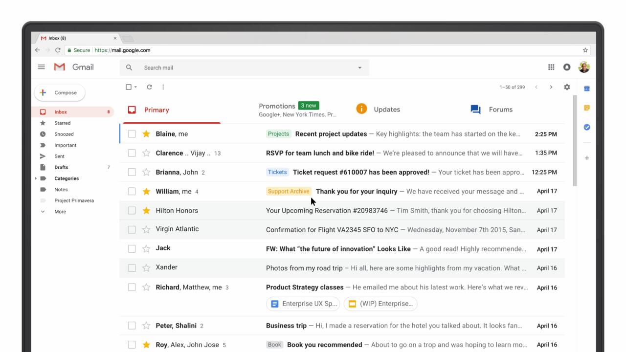 新デザインの「Gmail」登場。新機能多数、受信トレイから直接Googleカレンダーに予定追加も
