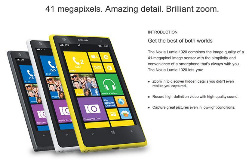 ノキア、4100万画素のカメラを搭載したWindows Phone「Lumia 1020」を発表!