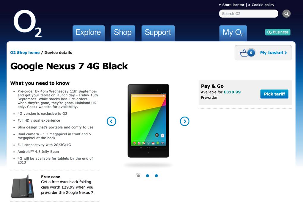 イギリスにて3G/LTE対応の新型Nexus7が9月13日より発売!