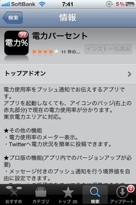 電力使用量がサッと確認できるiPhoneアプリ「電力%」