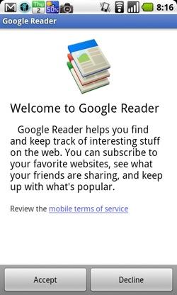 Android向けにGoogle Readerの公式アプリが登場!