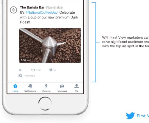 Twitter、タイムライン上部に動画広告を表示する「First View」を発表