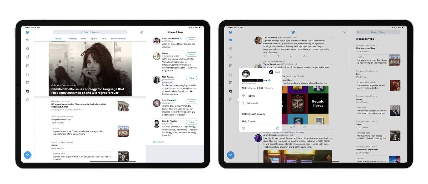 Twitter、新デザインのiPadアプリ公開。ウェブ版と同じマルチカラムを導入
