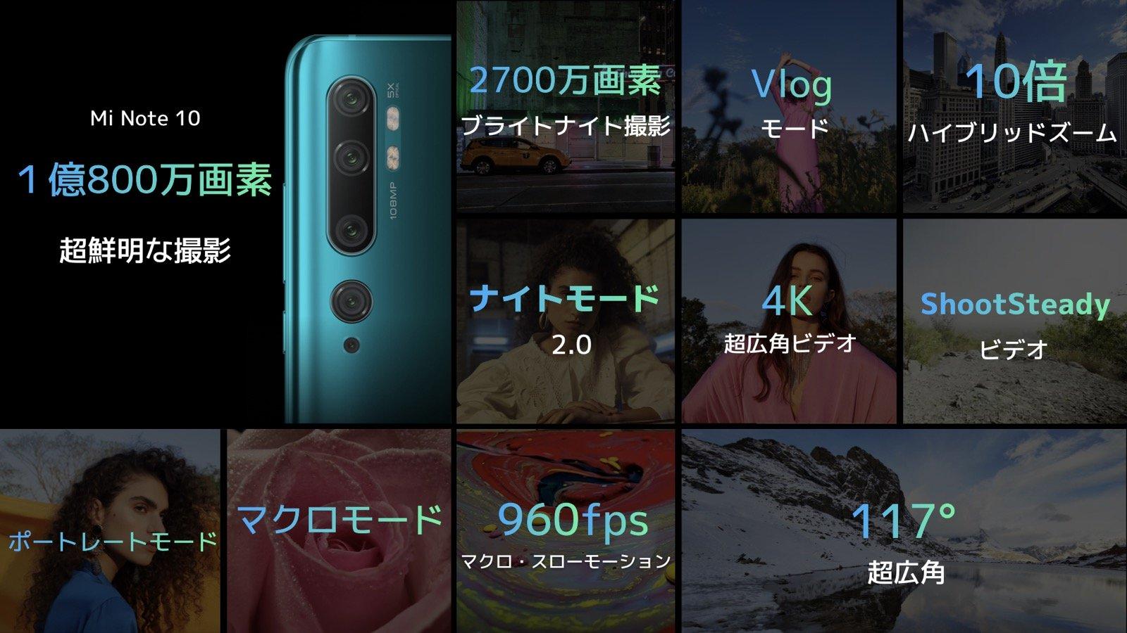 速報:シャオミ、1億画素・5眼カメラの「Mi Note 10」を5.2万円で日本発売